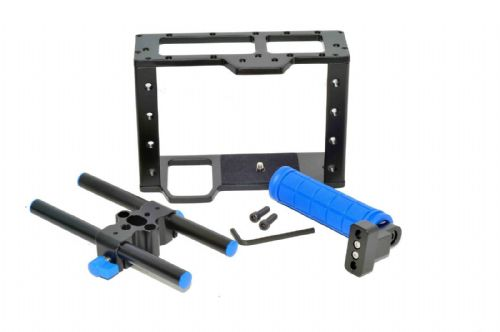 DSLR Camera Cage  with 15mm rods block plate + Handle Grip